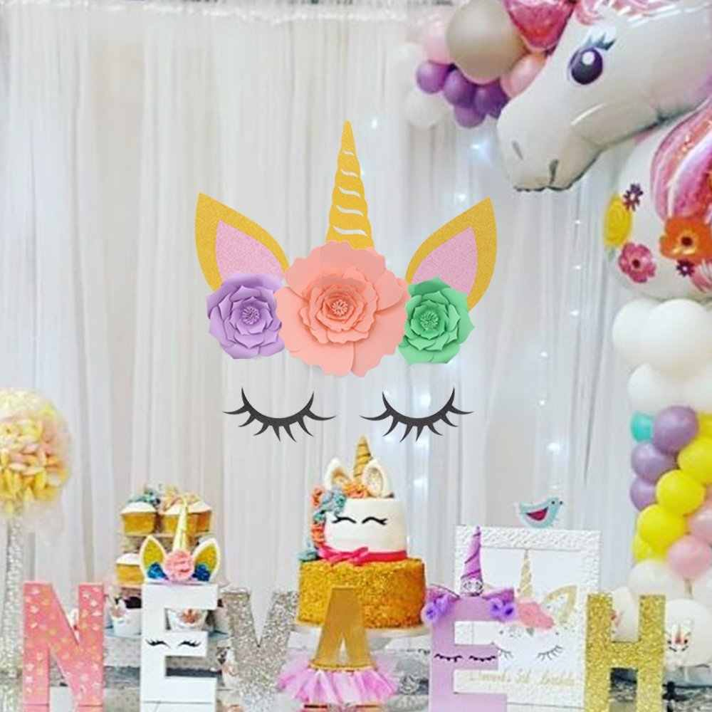 DIY Gold Unicorn Horn Ears Eyelashes Flowers Decorations Backdrop For Girls Birthday Party Baby Shower