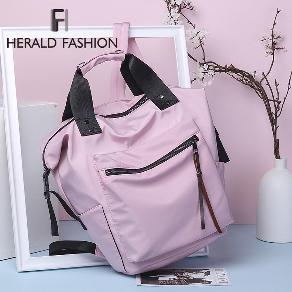 Herald Nylon Backpack Women Casual Backpacks Ladies High Capacity Back To School Bag Teenage Girls Travel Students Waterproof