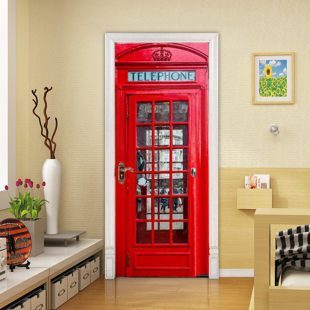 Home Decor Modern Print 3D Canvas Telephone Booth Picture DIY Art Door Sticker Canvas Picture Waterproof Wallpaper Self Adhesive