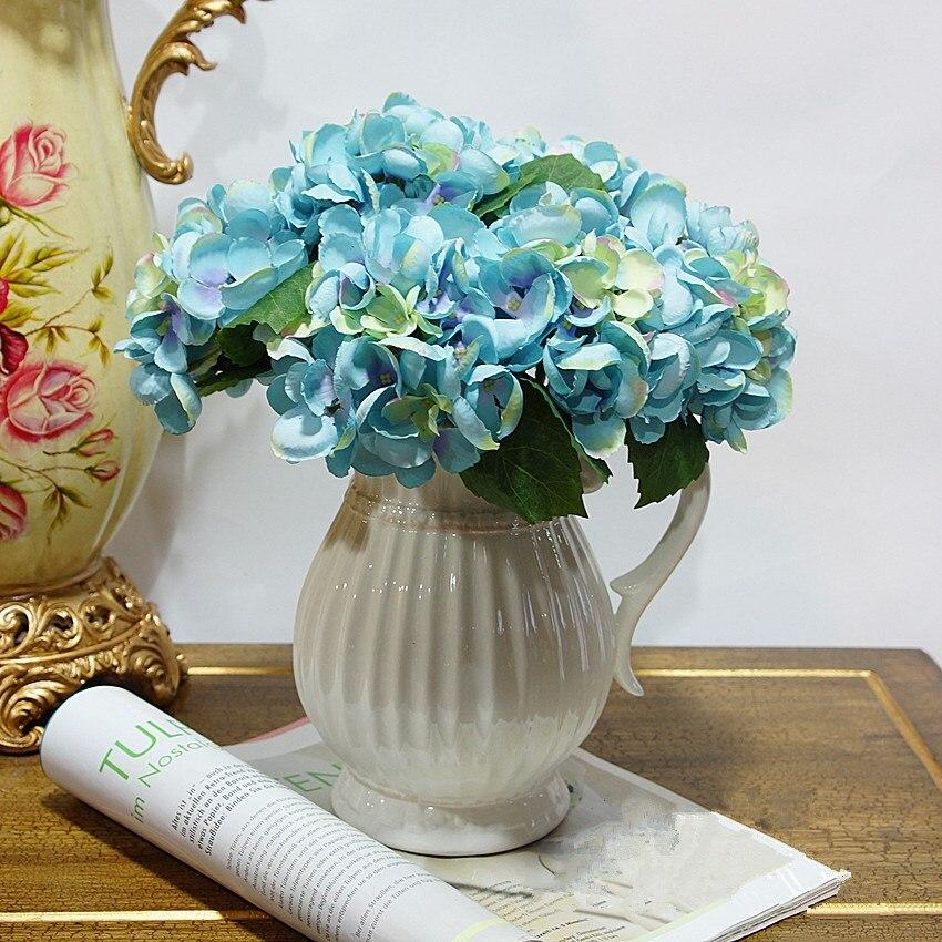 (10 psc / lot) 홈 웨딩 장식 미니 꽃을위한 고품질의 여러 가지 빛깔의 수국 플로레스 Artificiales 실크 꽃