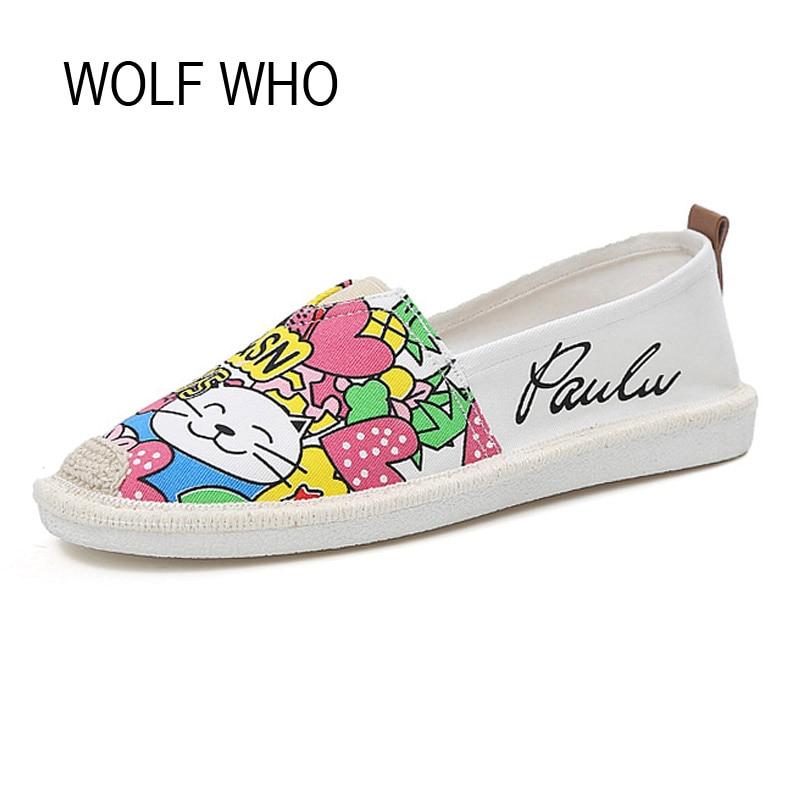 WOLF WHO Summer Canvas Espadrilles Women Moccasins Female Loafers Flats Shoes Ladies Slipony Slip on Krasovki Footwear H-068