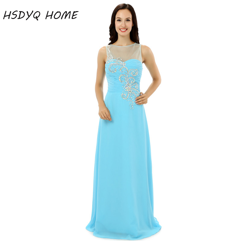 2017 cheap Crystal Beading prom dresses Long dress summer fashion sleeveless gowns