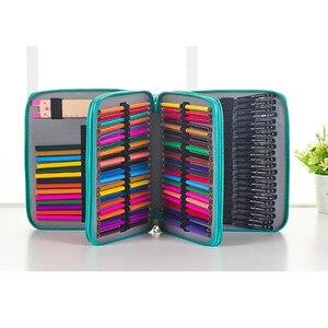Image 3 - 124 posiadacze o dużej pojemności piórnik dla Art długopisy akwarela kolorowe PU skórzane ołówki torba Box szkolne artykuły biurowe