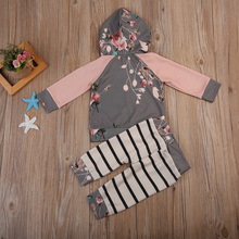 Newborn Kids Baby Girls Floral Hooded Tops Long Sleeve Shirt Striped Pants Leggings 2Pcs Set Outfits Clothes 2019 autumn newborn toddler baby kids girls clothes long sleeve floral hooded tops leggings pants outfits cotton two piece set