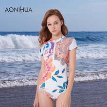 AONIHUA Swimwear Women 2018 Fashion Front Zipper Floral Printed Swim Suits Short Sleeve Lady Sport Surfing Swimsuit 1 One Piece