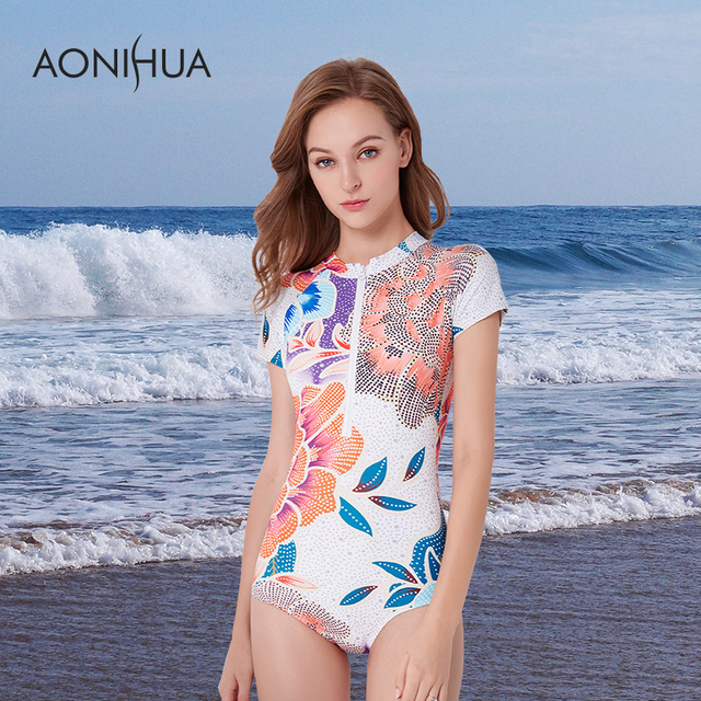 fd3ed3c591 AONIHUA Swimwear Women 2018 Fashion Front Zipper Floral Printed Swim Suits  Short Sleeve Lady Sport Surfing Swimsuit 1 One Piece-in Body Suits from ...