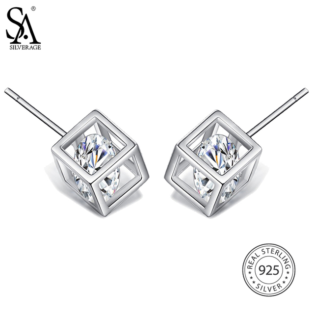 Sa Silverage Real 925 Sterling Silver Square Stud Earrings For Women Fine Jewelry Clic Rhinestone