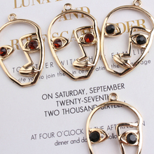 цена на 10pcs/lot Hollow-out Male Face Charms Earring Floating Golden Metal Rhinestones Face Shape Pendant For Jewelry Making YZ107