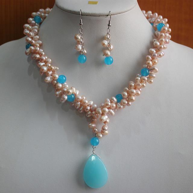 jewelry SET fine word Rows blue opal AAAA red green gem pearl crystal pendant necklace earrings set gem women's teardrop faux gem rhinestone pendant necklace set