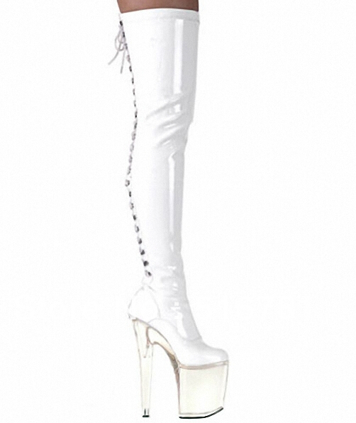 High quality Crystal Platform woman shoes Nightclub Steel tube dance performance Boots 20cm Thin Heels zapatos mujer Dance Shoes free shipping hot sale crystal platform women boots nightclub performance woman botas zapatos mujer party pumps side 35 45 46