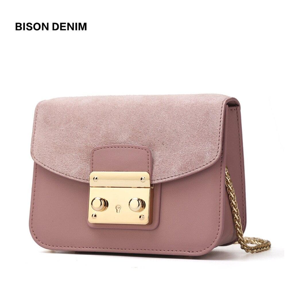Бизон джинсовые Для женщин сумка кожа коровы Crossbody цепи блока Для женщин Курьерские сумки Съемная крышка Дизайн женские сумки N1240