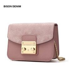 ФОТО bison denim women shoulder bag cow leather crossbody chain block women messenger bags detachable cover design female bags n1240