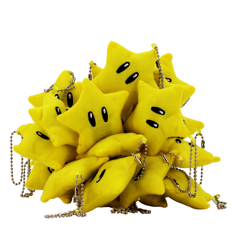 7cm Mini yellow stars plush toy New tiny keychain toy stuffed plush Five stars model pentagram