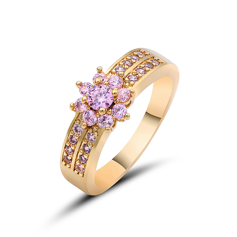 Elegant Purple Black Gold Filled CZ Ring Gold Colors Flowers Rings Unique Vintage Party Wedding For Women Christmas Jewelry