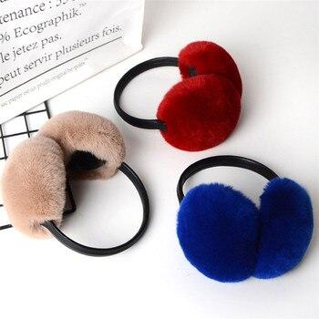 Orejeras de invierno para mujer, orejeras cálidas de piel de conejo auténtico, orejeras bonitas, orejeras rusas, piel auténtica de felpa, orejeras de piel Natural, gran oferta