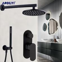 Bathroom Shower Set 8-10 Inch Rianfall Head Faucet Wall Mounted Arm Mixer Diverter Chrome/Black