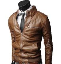 Autumn Winter Mens Jacket PU Zippers Slim Cutting Coat Leather Jackets Plus Size AMC0001