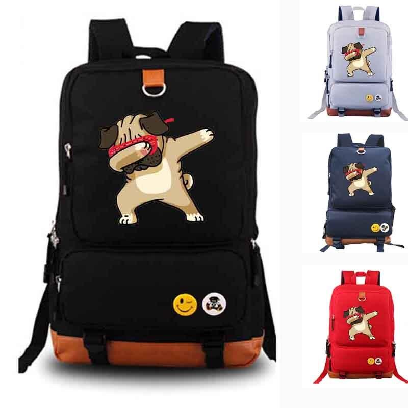 Забавный Мопс вытирая школьная сумка Повседневное облегченная холщовая Рюкзаки Школьный  ...