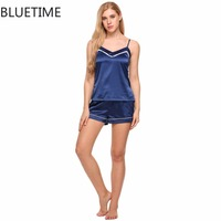 Satin Cami Set Women Pajamas Female Sexy V Neck Spaghetti Strap Tops And Shorts Home Indoor