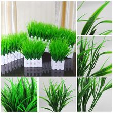 1Pcs 7-fork Household Store Home Office Green Grass Artificial Plastic Plant