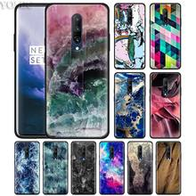 Pink Purple Marble Stone Phone Case for Oneplus 7 7Pro 6 6T Oneplus 7 Pro 6T Black Silicone Soft Case Cover