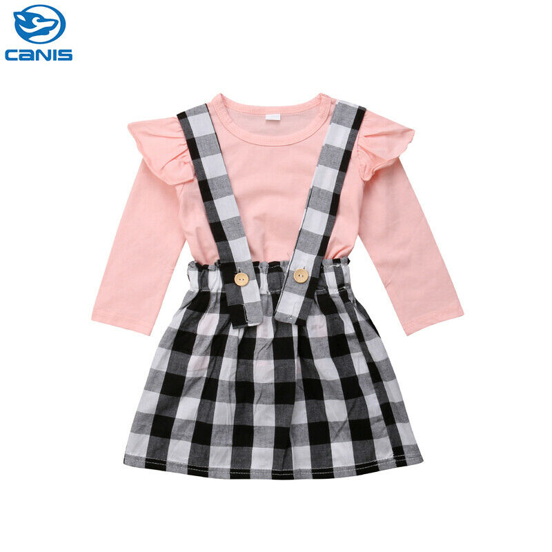 New Arrival Cute Newborn Toddler Baby Girl Pink Long Sleeve Top Plaid Halter <font><b>Bib</b></font> <font><b>Skirt</b></font> Dress Outfits Clothes 0-5Y image