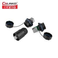 CNLINKO YT serie RJ45 panel mount Signal dual port ethernet IP67 rj45 einzigen IP67 Wasserdichten stecker mit wasserdichte abdeckung-in Steckverbinder aus Licht & Beleuchtung bei