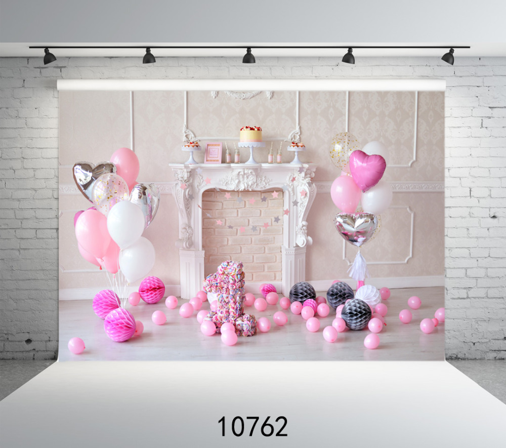 SJOLOON pink balloon fireplace 1st birthday baby photography backdrop party photo background for picture photo studio vinyl prop 5feet 6 5feet background snow housing balloon photography backdropsvinyl photography backdrop 3447 lk