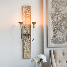European Retro Old Wooden Carved Decorative Wall Lamp French Classical Decoration