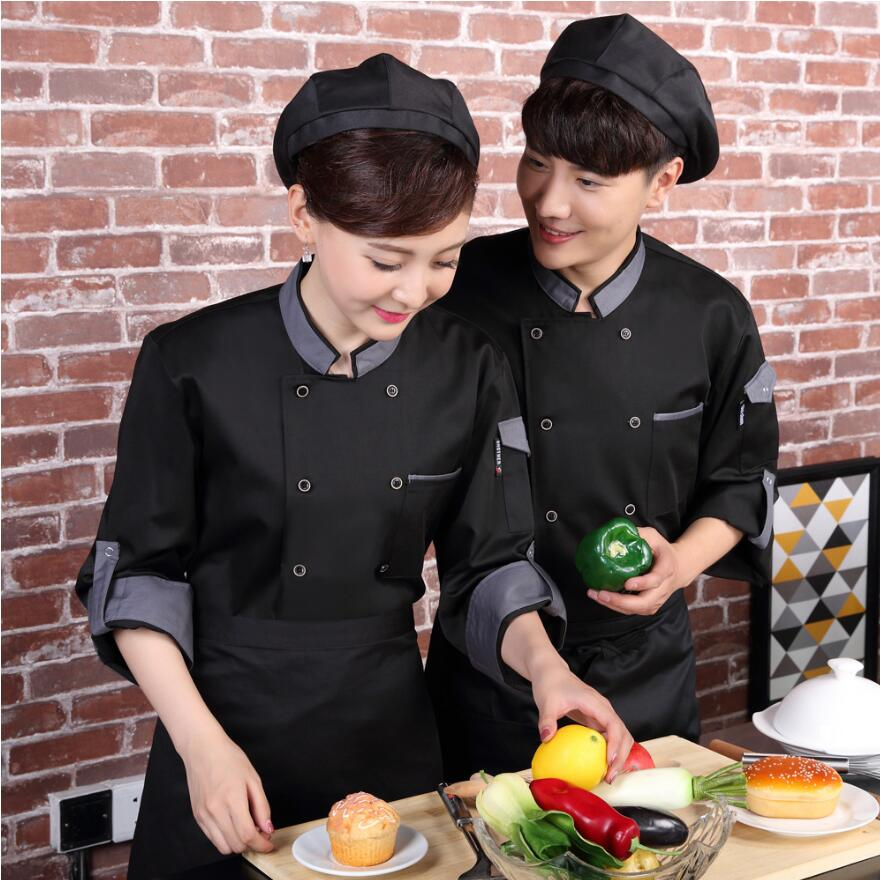 Spring Food Service Long Sleeve Chef Jacket Male women Hotel Work Uniform Restaurant Chef Top Hotel Uniform for Kitchen in Chef Jackets from Novelty Special Use