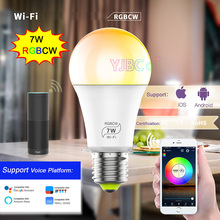 New WiFi 7W RGBCW Smart LED Bulb 5CH Music E27 full color Wifi Voice Control Magic Home led Light Lamp by Android 4.0/IOS9.0
