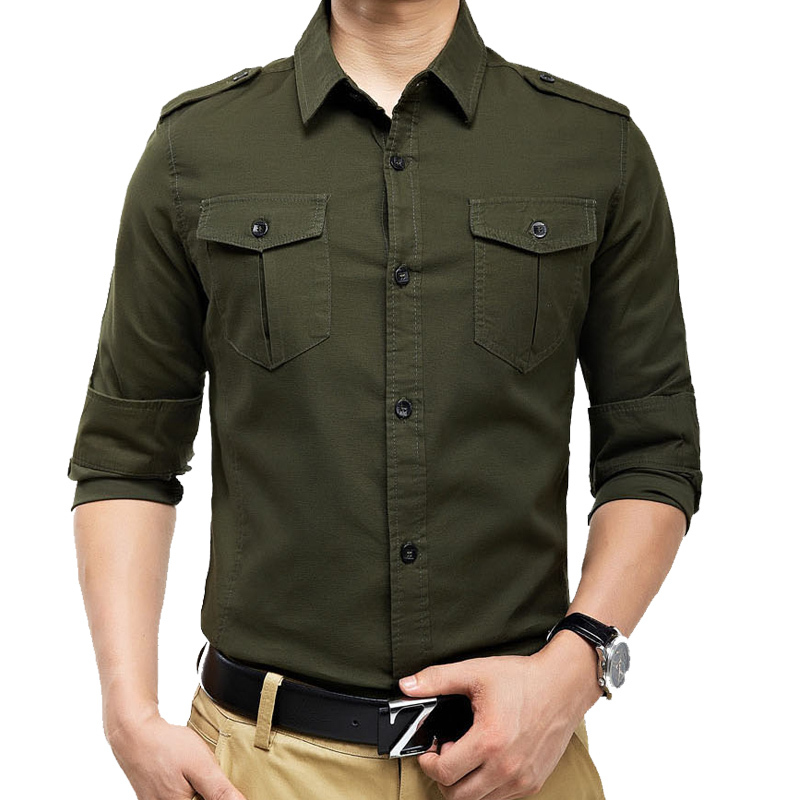 New arrivals free shipping military style long sleeve men for Mens military style long sleeve shirts