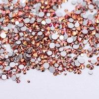 High Quality 1packs Mix Sizes Gold Rose AB Non Hotfix Flatback Nail Rhinestoens Nails Accessories Nail