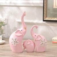 Modern minimalist family of three pink ceramic elephants small ornaments home decorations TV cabinet wine cabinet furnishings