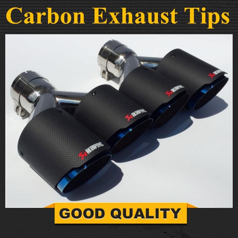 2 шт. Inlet63mm Outlet90mm двойной AKRAPOVIC углеродное волокно выхлопных газов Совет Синий стали выхлопная труба глушителя для BMW для VW для Benz