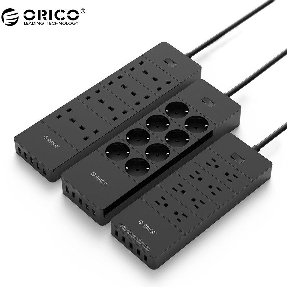 ORICO Power Strip EU Plug Electrical Socket 8 Outlet Surge Protector EU Power Strip with 5x2.4A USB Super Charger Ports - White