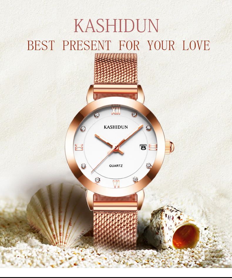KASHIDUN Reloj Mujer 2018 Luxury High Quality Water Resistant Montre Femme Dress Woman Wrist Watches Date Clock Women