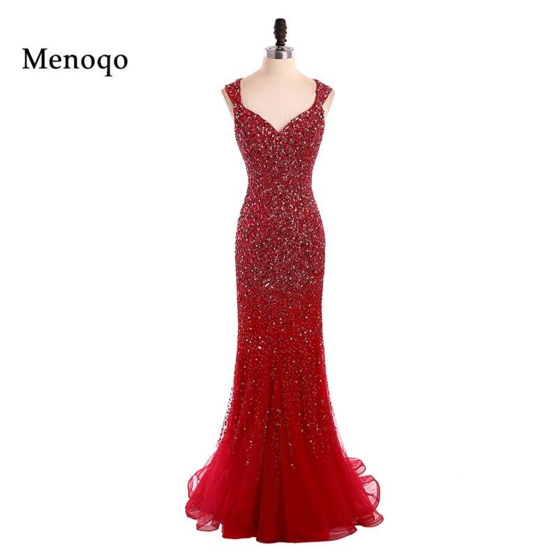 7e69dd1f51 Czerwone wieczorowe suknie Robe de wieczorze Pageant suknie 2017 arabski  dubaj kryształ syrenka formalne sukienki na przyjęcie sukienka prawdziwe  zdjęcia