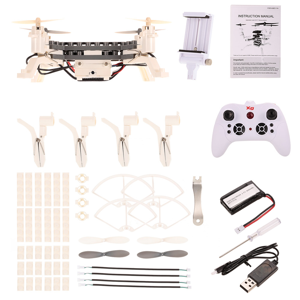 XG171 DIY Building Block Drone Height Hold One Key Return Clip Quadcopter Toy Mini RC Drone with Camera Toys for kids
