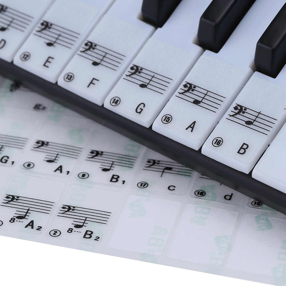 מכירה לוהטת! שקוף פסנתר מקלדת מדבקת 49/61 מפתח אלקטרוני מקלדת 88 מפתח פסנתר להדוף הערה מדבקת לבן מפתחות