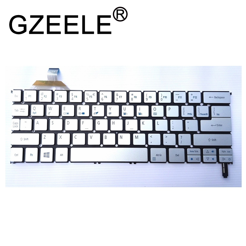 GZEELE NEW US English Backlit Laptop Keyboard For Acer Aspire S7-391 S7-392 MS2364 Silver Keyboard With Backlight
