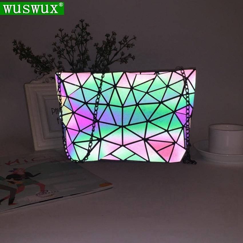 New Fashion Luminous Discoloration Chain Bag Women Shoulder Bag Crossbody Geometric Casual Women Messenger Bags