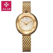 Nueva julius señora woman reloj horas moda vestido de pulsera linda encantadora del acero negocio regalo de san valentín de cumpleaños de la muchacha