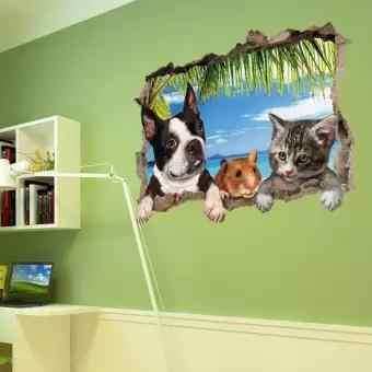 Elegante 3D Kat Hond Patroon Muur Sticker Waterdicht Art Mural Woonkamer Achtergrond TV Muur Decoratie Specificatie: 50*70cm
