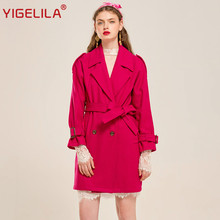 YIGELILA 9322 Latest New Fashion Double Breasted Elegant Rose Red Belt Women Wool Coat