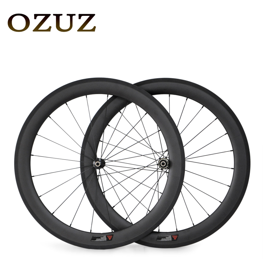 Factory Sales 700C Carbon Wheels Straight Pull 50mm Depth Clincher Carbon Road Bike Bicycle Wheelset Powerway R36 Hub 23mm Width стоимость