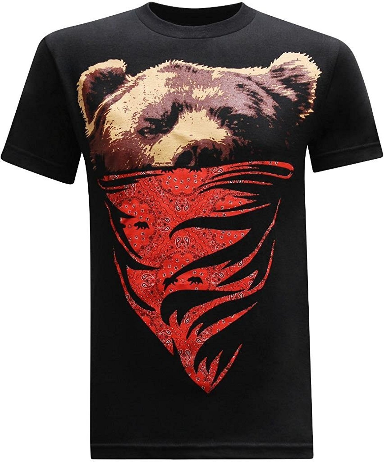 California Republic Red Bandana Bear Men's T-Shirt 2017 New Pure Cotton Short Sleeves Hip Hop Fashion Mens T Shirt Top Tee