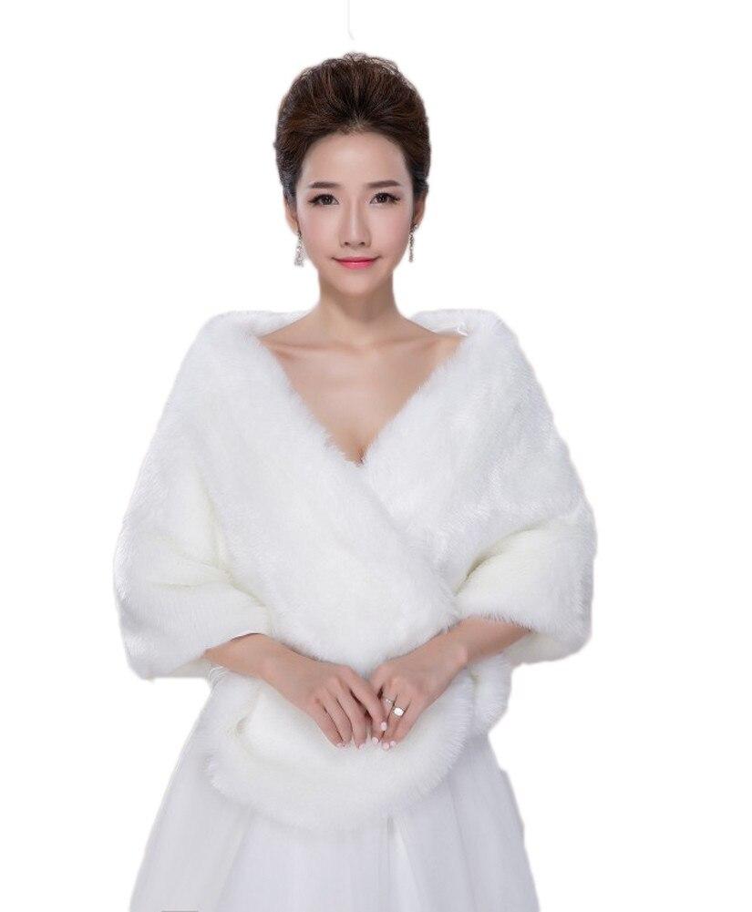 Damen Faux Pelz Brautjacke Mantel Schal Cape Winterjacke für Hochzeit Abendkleid