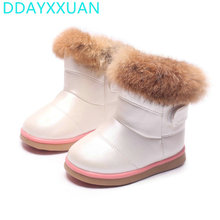 2017 Winter Plush Baby Girls Snow Boots Warm Shoes PU Leather Flat With Baby Toddler Shoes Outdoor Snow Boots Girls Kids Shoe