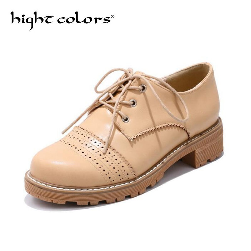 Hot New Fashion Unisex Carved Coarse Oxfords For Women Comfort Leather Lace Up Flats Womens Casual Brogue Shoes Big Size 34-43 new women genuine leather oxfords ladies casual flat oxford shoes vintage cow leather carved brogue oxfords for women size 34 43